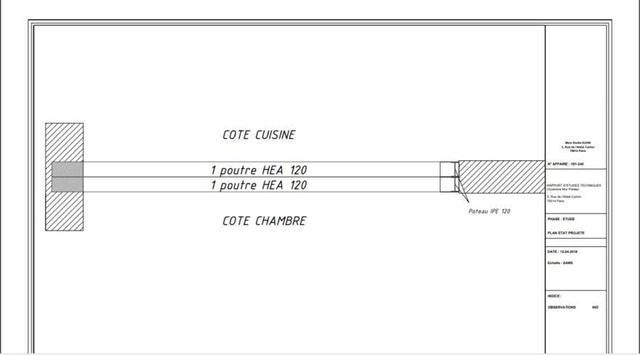 Réalisation d'une ouverture de largeur 2,73 m  entre cuisine et chambre