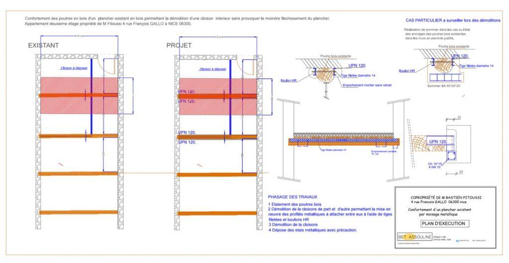 Renforcement des poutres existantes en bois par la structure métallique. Démolition d'une cloison à Villeneuve-Loubet. - Renforcement des poutres