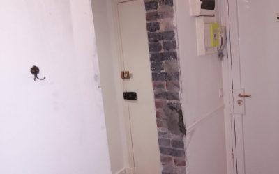 Ouverture d'une baie/porte dans un mur porteur. Renforcement par structure métallique à Montrouge.