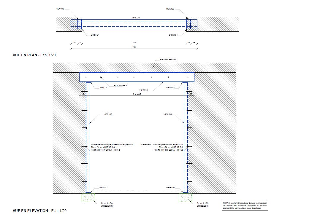 Création des ouvertures dans les murs porteurs. Renforcement par structure métallique à Antibes. - Démolition des Murs porteurs